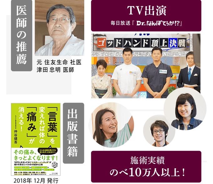 医師の推薦・書籍出版・TV出演・施術実績のべ10万人以上!